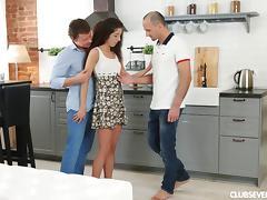 Kitchen, Cum, Double, Hardcore, Kitchen, MMF