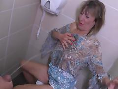 Horny housewife sucks the cock of the mysterious guy in the bathroom