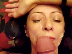 Hot Mom Takes Cum All Over Her Face