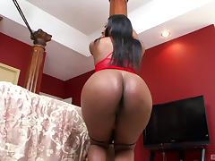 Ebony babe with a huge black booty enjoys the doggy kind of screwing