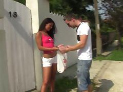 Poolside seduction ends up with the teen getting decorated with cum