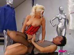 Lingerie wearing blonde gets taken in several different positions