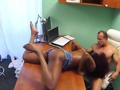 Redhead ebony fucks doctor in his office