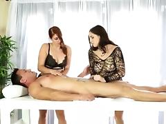 Two nasty masseuses shared clients cock under the table
