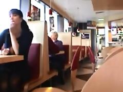 Dark haired chick flash tits in public restaurant