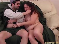 Chubby pigtailed babe jerking him off onto her tits