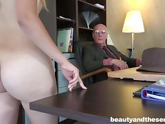 she will clean his old wrinkled dick from dust