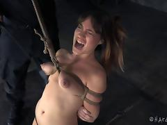 Dungeon time with a beautiful girl features rope and a ball gag