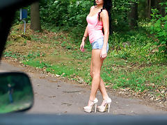 Hitch Hiker, Brunette, College, Fucking, Horny, Naughty