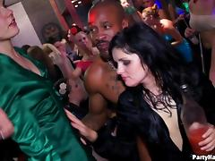 A male stripper fucks her in the middle of the dance floor
