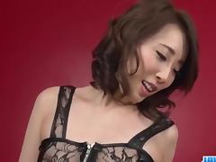 Aya Kisaki, wife in lingerie, blows a big dick in POV