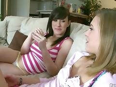 Kasey and Jennifer are quite pleased to be in a threesome