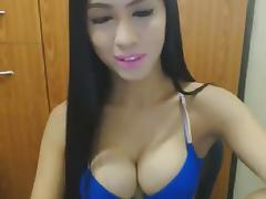 Hot and sexy asian shemale jerk off in front of the cam 2