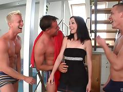 Pale senorita allows the horny guys to passionately poke her holes