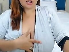Seductive large breasts drooled on