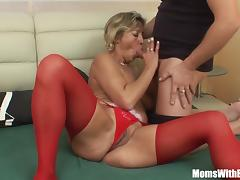 Mom and Boy, Fucking, Mature, Old, Stockings, Older