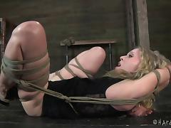 Throat fucked girl bound by rope and punished by master