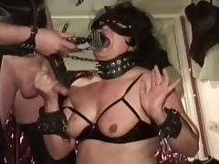 Tied Up Slut Gags Helplessly On Big Cock