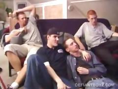 Four Curious Boys Gay Sex Orgy