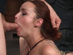 Hard gangbanging fun of a sexy girl in bondage