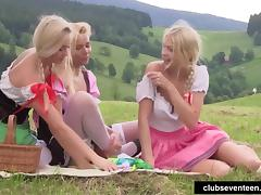 Blonde teens toy twats outdoors