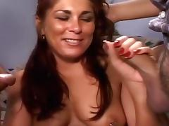 Chubby Slut Gets Her First Gangbang