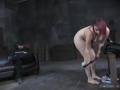 Hot redhead punk babe gets bound and has her twat pleasured