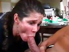 Maid cleans with her mouth