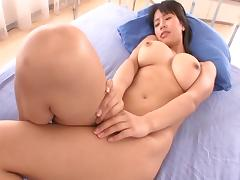 Slutty Japanese tart with big tatas loves having her wet cunt drilled