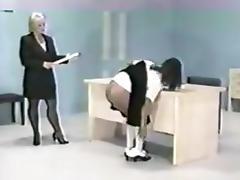 Ebony spanked in the classroom