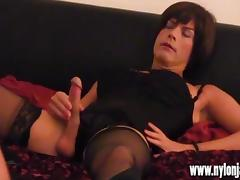 Horny Milf photographer makes TGirl slut spunk with hot wank