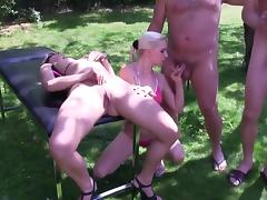 Outdoor gangbang With Two Babes