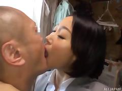 Vigorous missionary screwing for the cute Japanese lass Eri Ito