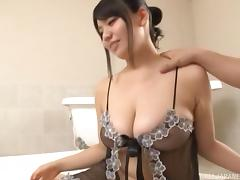 Busty Eastern model doing some passionate sucking in the bathtub