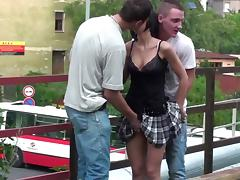 Young petite teen girl PUBLIC street gang bang sex on bridge