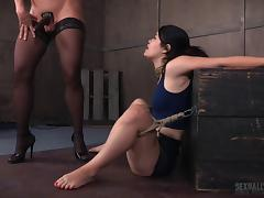 Eatable slave spreading legs when worked on with strapon in BDSM