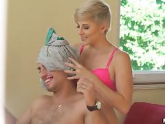Short-haired blonde gives the best reverse cowgirl ride in history!