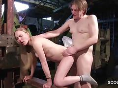 Skinny German MILF Seduce to Fuck by Stranger Outdoor