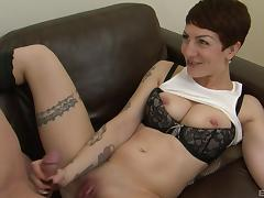 Raunchy tattooed bitch Miss Trixx gets plowed with a stiff boner