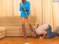 Big ass foot fetish Russian dame striping her slave lovely