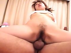 Luscious Japanese lass with a hairy twat and her wild cowgirl ride
