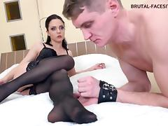 Captivating femdom fetish brunette with nice ass spanking her horny slave in BDSM