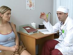 Big tits babe shaved pussy ravished hardcore by horny doctor