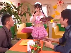 Good looking Japanese maid gets her tight pussy plowed hard