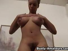 Busty amateur Gia strips and playing her pussy