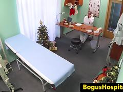 Euro patient cockriding her doctor in office
