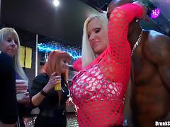 Good looking European beauties having fun dancing in a club