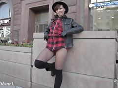Jeny Smith flashing pantyhose on the streets. No panties