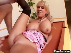 Blonde in stockings loves fingering shaved pussy before getting fucked