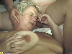 Fat granny gets rammed hard with two stiff meat poles